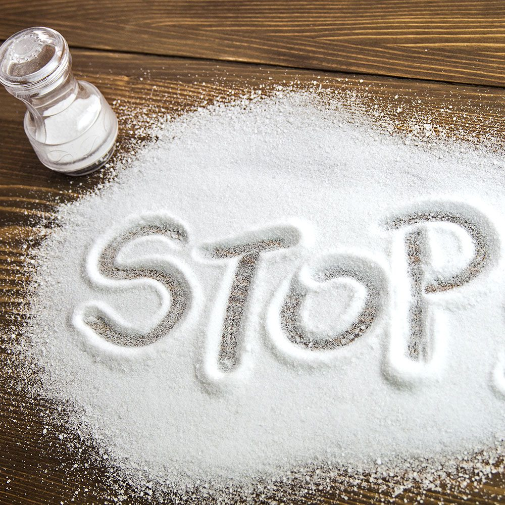 STOP written on a heap of salt - antihypertensive campaign